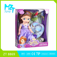 2015 New !Eco-friendly PVC 14 Inch Sofia(Light and music)+Three animals+Neck Lace princess barbie doll