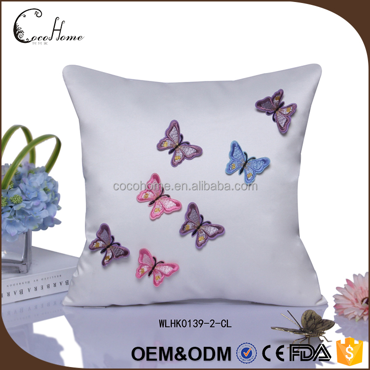 New design silk pillow case / decorative embroidery butterfly silk cushion cover
