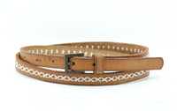 cheap promotion brown embroidery women leather belt