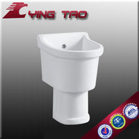 Unique Modern design basin fixing with wall Modern design basin pedestal Luxury Ceramic One Piece basin guess tops mop