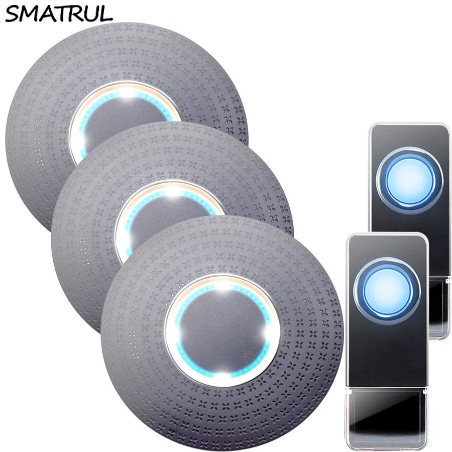 SMATRUL New Waterproof Wireless Doorbell EU Plug 300M Remote smart Door Bell Chime ring 2 button 3 receiver no battery Deaf Gorgeous lighting black
