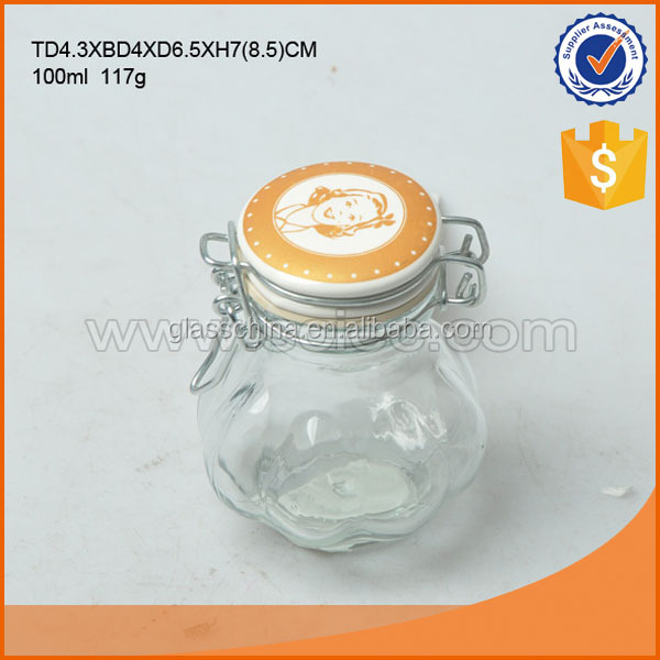 100ML pumpkin clear glass spice jar with clip glass/ceramic lid