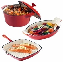 Enamel coatingcast iron kitchenware sets include grill fry pan plate and cooking pot