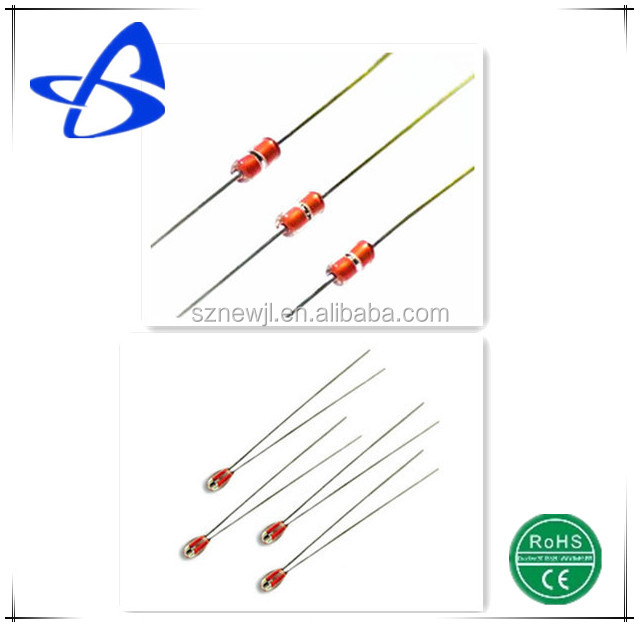 Glass bead NTC themistor with radial dumet wire