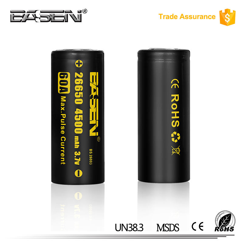 High Drain Battery Wrap Custom ICR 26650 4500mAh 3.7V 3.6V Lithium Li-ion Rechargeable 26650 lifepo4 battery