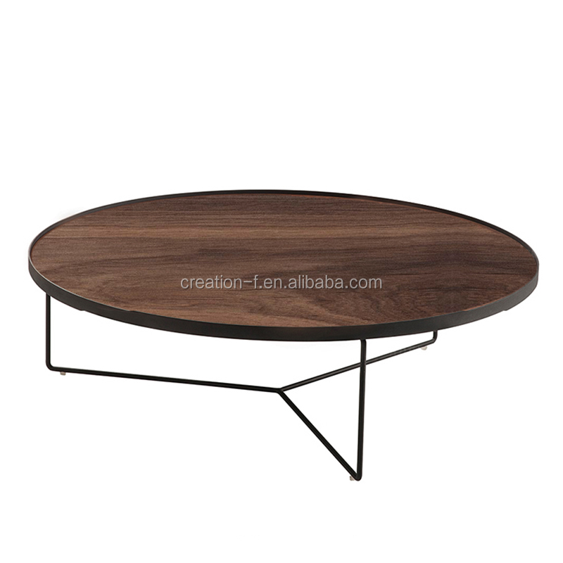 Plywood Top Stainless Steel Black Bolor coffee Side Table Furniture