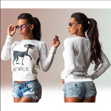 Wholesale Korea Style Cat Printed Long Sleeve T-Shirt With New Model