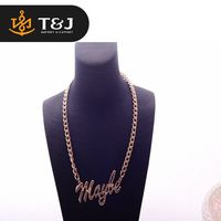 >>>New Arrival Trendy Style Simple Plain Design Fashion Long Chain Gold Plated 'maybe' Alloy Charm Chain Necklace Women Men/