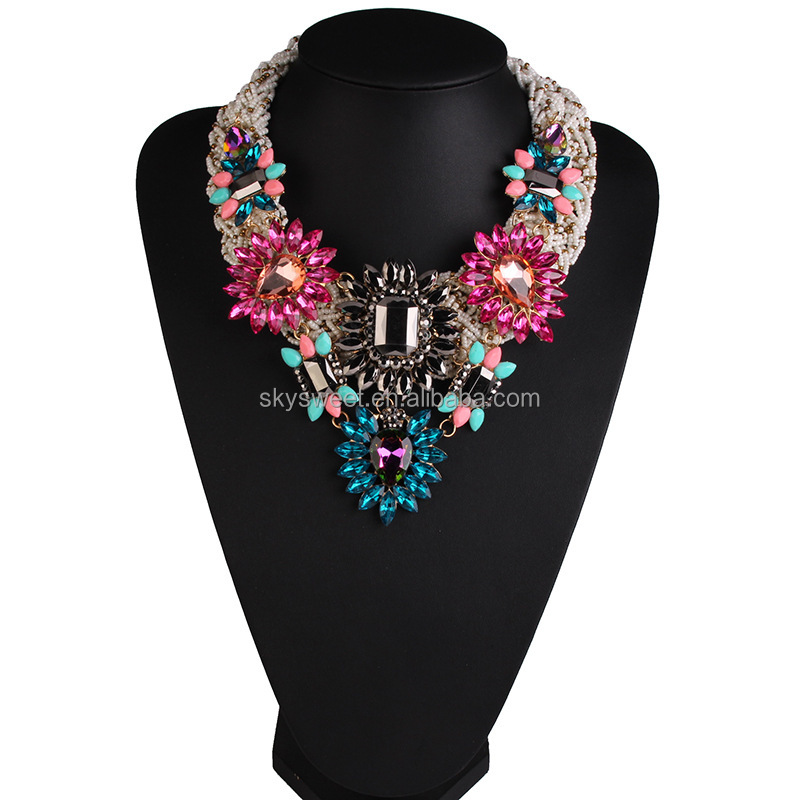Chunky Seed Beads Crystal Flowers Necklace Handmade Crystal Statement Necklace