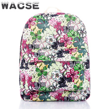 2017 fashion nice green flowes printed canvas book bag