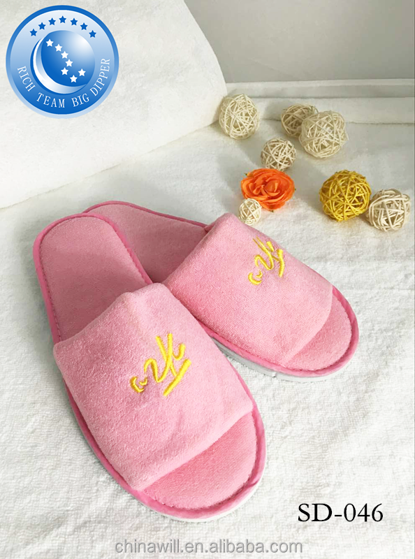 New design cotton velour open toe hotel slipper