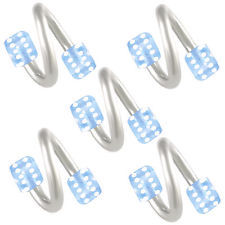 Blue acrylic dice eyebrow rings bars steel spiral barbell