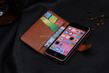 Book Style case for iphone5c wallet,genuine leather for iphone 5c