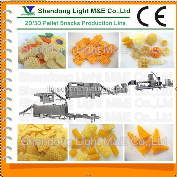 Industrial Extruded Potato Cassava Snack Food 3D Pellet Machine