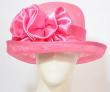 Manufacturer sales Sinamay Organza sunday church hats ladies with bowknot