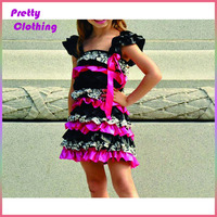 Toddler cute rompers print ruffle bloomers baby girl party dress children frocks designs