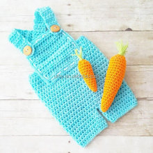 Wholesale Carrot Farmer Overalls Pants Onesie Crochet Baby Romper