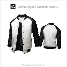 new 2015 big baseball jacket pocket spell leather sleeve male model