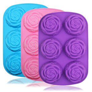 6 cavity Rose Silicone Soap Mold Muffin Cups Cupcake Baking Mold Resin Clay Handmade Bath Bomb Biscuit Chocolate Molds