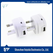 CE certificated quick charging UK plug 2.1A usb wall charger Shenzhen Manufacturer