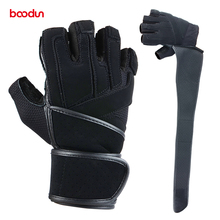 Leather Men's Gym Weight Lifting Gloves bodybuilding Fitness