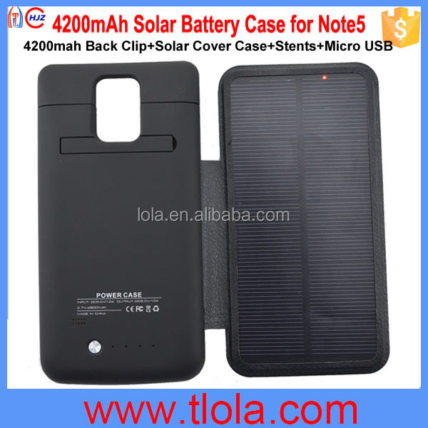 OEM 4200mah Solar Back Clip Battery Case for Note5 Samsung Galaxy