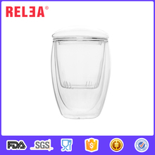 RELEA borosilicate double wall glass cup drinking with filter and lid 350ml