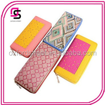 Wholesales pu printed zipper wallets lady pu laser out wallets