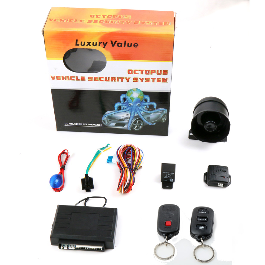 Luxury Value OCTOPUS VEHICLE SECURITY SYSTEM 1-Way Car Alarm Manufacturer with waterproof Remote Control