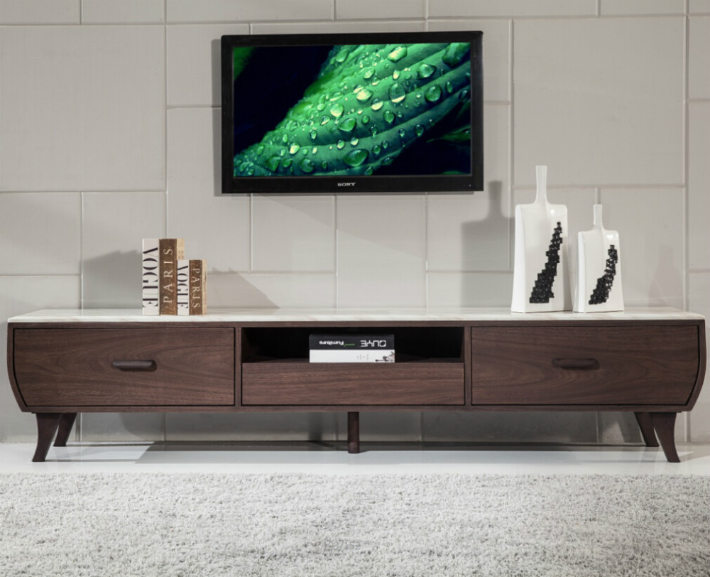 living room furniture mdf wood tv stand with 3 drawers top marble tv