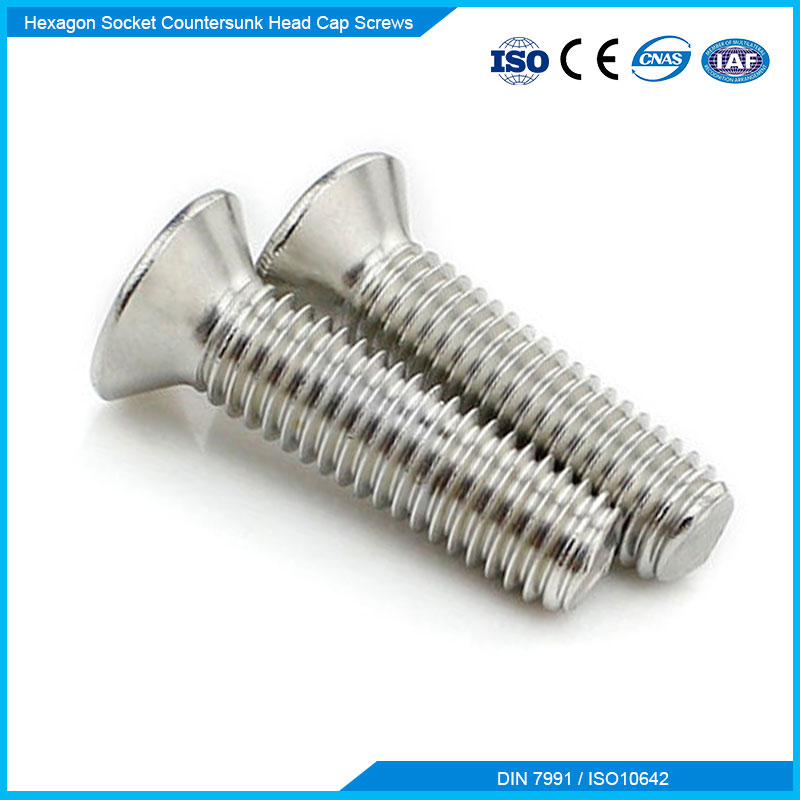DIN7991 Stainless Steel Fasteners Hex Scoket CSK Screw With SS201SS304 SS316