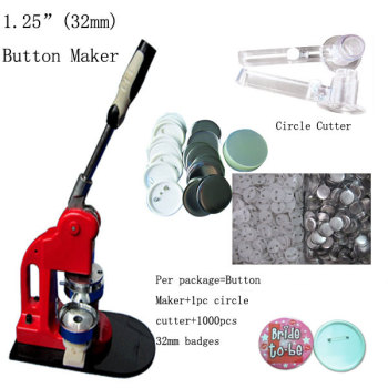 "1-1/4"" 32mm Button Maker Machine Badge Press+1000 Button Supplies+1pc 32mm Circle Cutter"