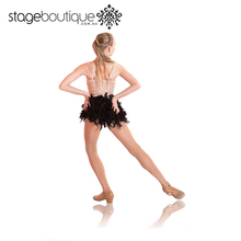 Hot Sale Professional Sequin Black Feathers modern jazz dance costumes