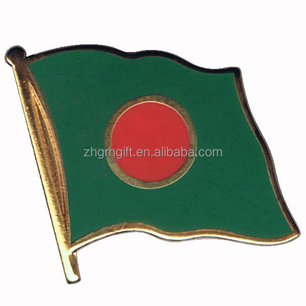 Hot sale custom design hard enamel National Bangladesh Flag pin