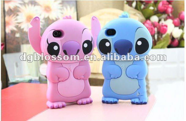 Lovely cartoon characters Stitch Silicone Phone Cover for iPhone 4 ,4g