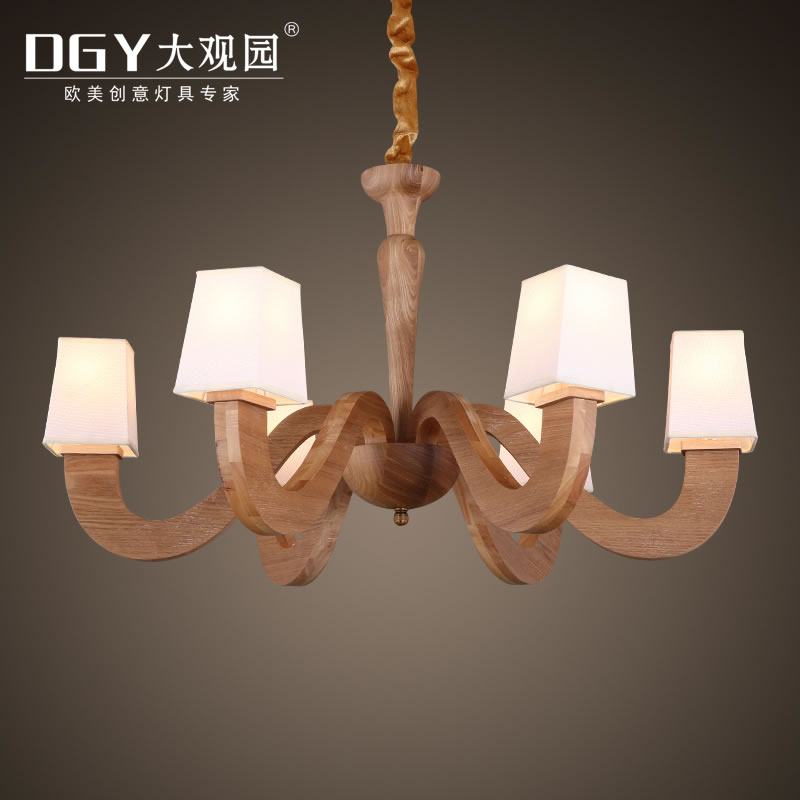 Modern chandelier crystal lampshade pendant light wooden chandeliers pendant lamps