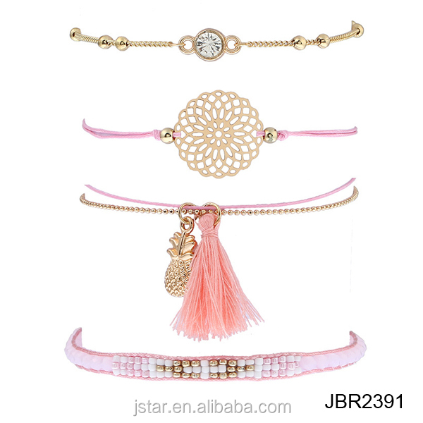 4pcs/set Hand made Beads Bracelets For Women Tassel pineapple crystal Charms