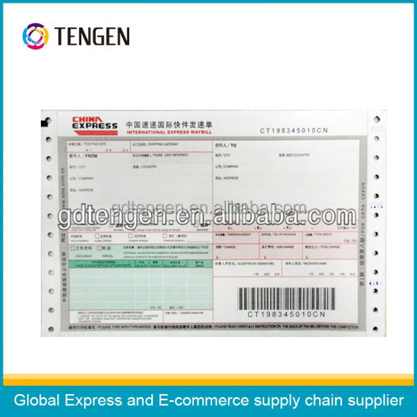 High quality international express waybill with definition barcodes
