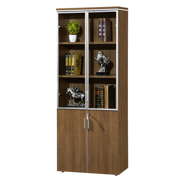 Office Modern Melamine Filing Storage Cabinet With Glass Upper