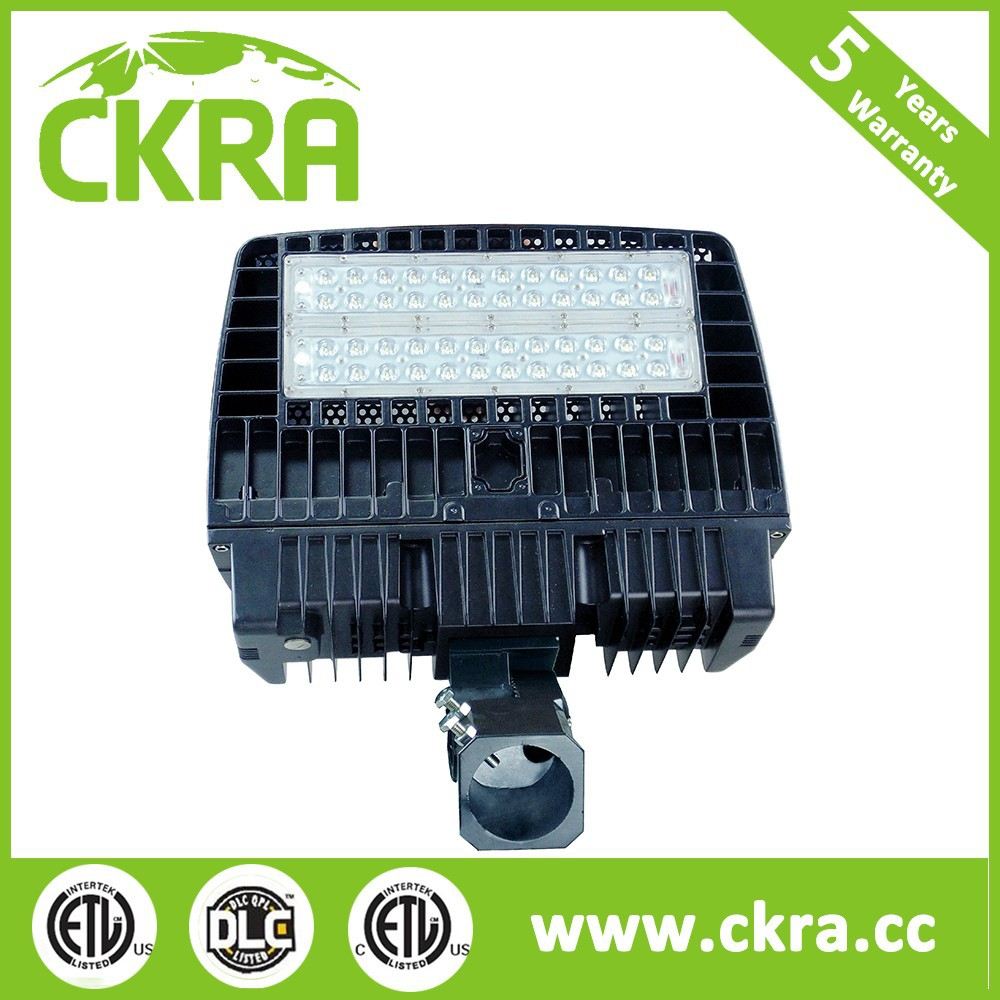 outside area 120watts Slip Fitter Mount LED Shoe Box Pole Light DLC