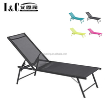 Wholesale beach sunbed adjustable beach sun bed lounger aluminium steel