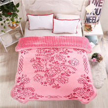 5D Embossed Winter Blanket Double Layer Wedding Bedding Korean Style Thick Warm Raschel Blankets
