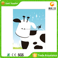 Manufacturer supply kids room decor hand make framed gemstone painting cartoon cow painting