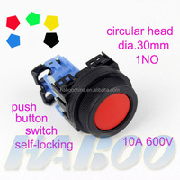 installation diameter 30mm 10A 600V self-locking push button switch 1NO on-off