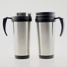 16OZ double walled insulated tumbler with lid sublimation stainless steel customized travel mug with handles replaceable lid
