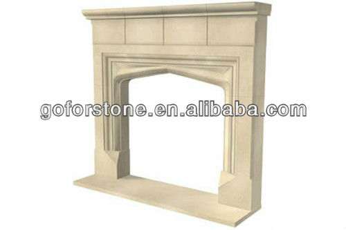 Stone fireplace with steel frame