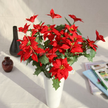 Shuyi wholesale high quality 64cm/2fts 3 heads artificial velvet poinsettia flower for Christmas