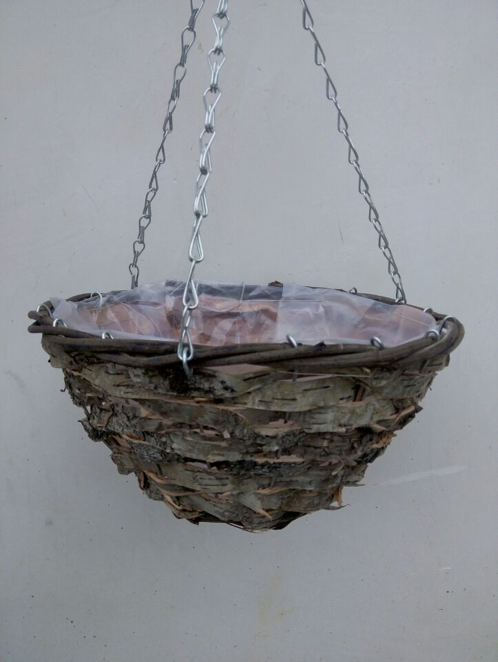 Garden Supplies Rustic decorative birch bark woven plant fibre hanging planters levitating plant pot