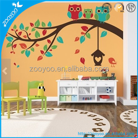 2014 Kids Room Decor Art PVC Wall Stickers Removable large branch owl family cartoon wall decal kids