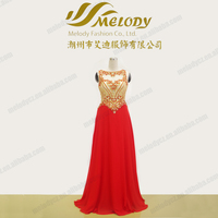 Gloden beaded chiffon bodysuit illusion neckline red evening dress 2015